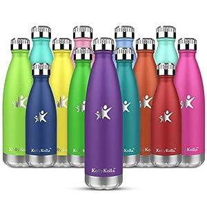 KollyKolla Botella de Agua Acero Inoxidable, Termo Sin BPA Ecológica, Botellas Termica Reutilizable Frascos Térmicos para Niños & Adultos, Deporte, Oficina, Yoga, Ciclismo, (350ml Morado Oscuro)