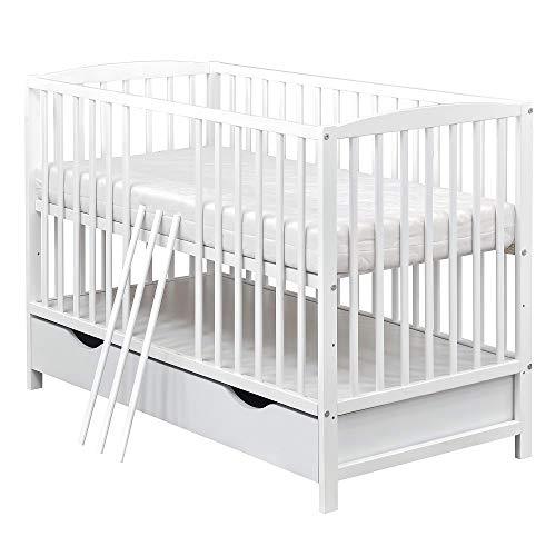 Baby Delux Babybett Gitterbett Kinderbett umbaubar zum Juniorbett Weiß 120x60cm inkl. Bettkasten, Schutzgitter und Matratze