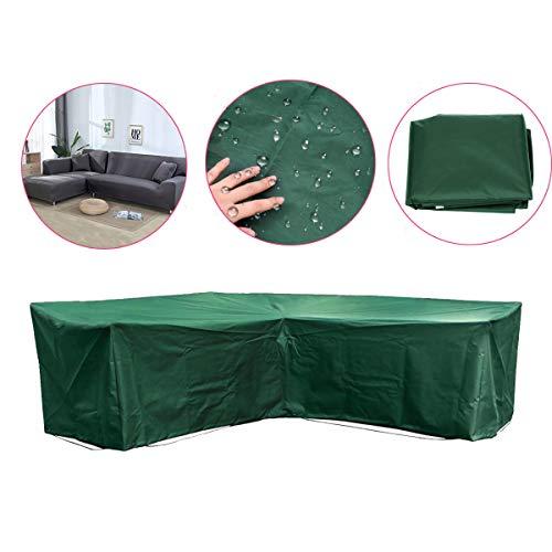 dDanke 215x215x87x67cm Polyester Waterdicht Duurzaam L Vorm Buiten Patio Tuin Beschermende Cover voor Hoekbank (Groen)