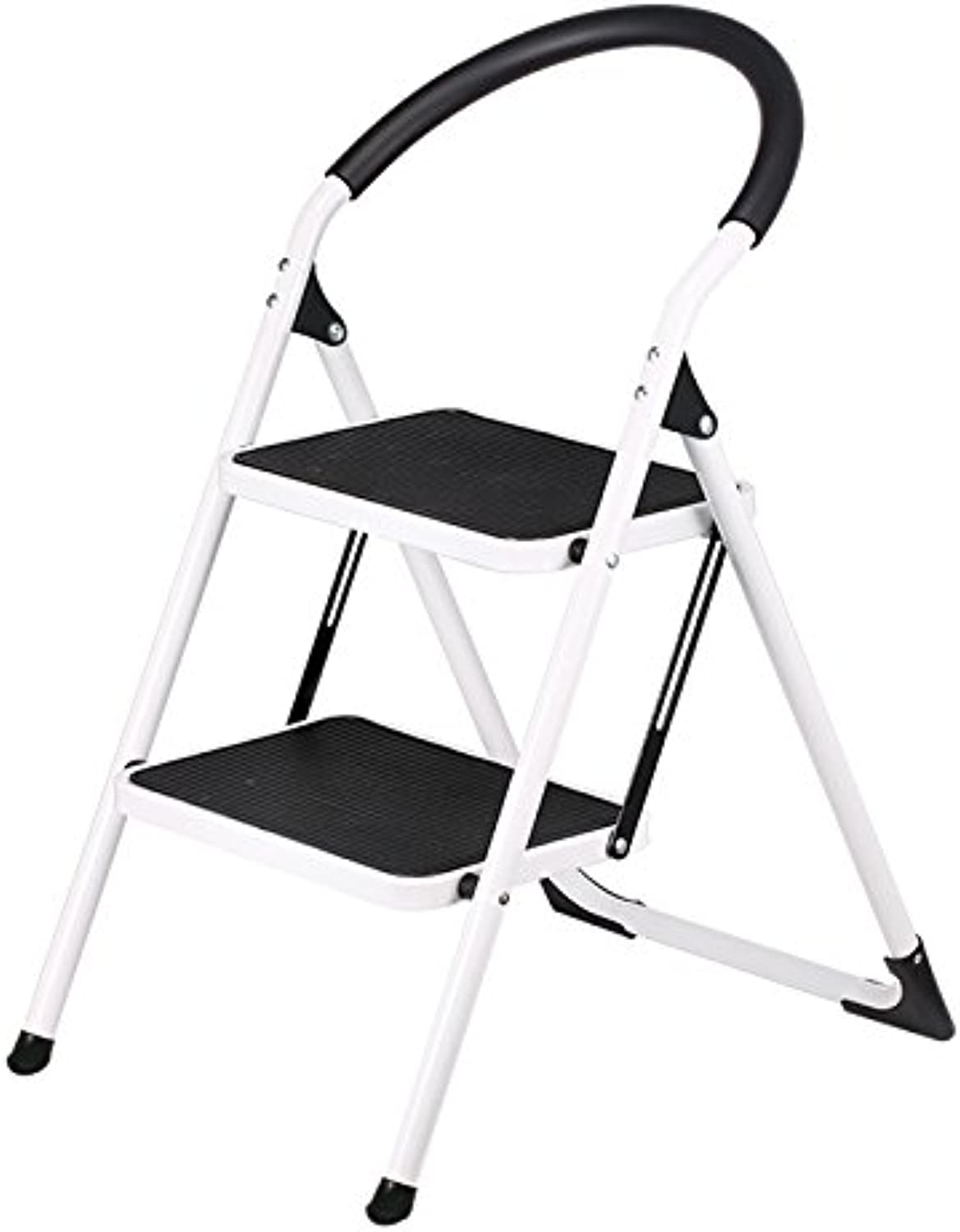 Ladder, Portable Folding Ladder, Steel Ladder, Small Ladder, Multi-Function Staircase, Home Indoor, Two-Step Ladder Stool (color   Black, Size   47.5  57  81.5cm)