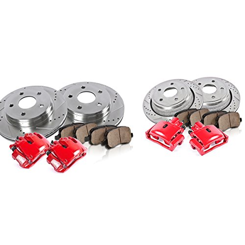 CCK12629 FRONT + REAR Powder Coated [4] Remanufactured Calipers + [4] Drilled/Slotted Rotors + Low Dust [8] Ceramic Pads