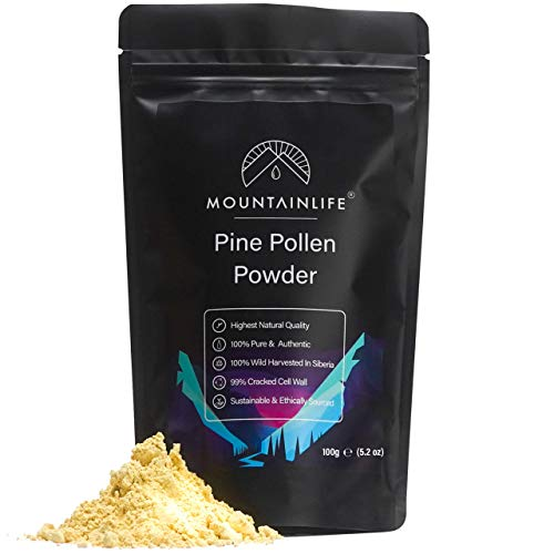 Mountainlife Pine Pollen Powder 100g | Siberian Wild Harvested | 99% Broken & Cracked Cell Wall | Organic Superfood Powder | Naturally Harvested | Amino Acid, Vitamin & Mineral Rich