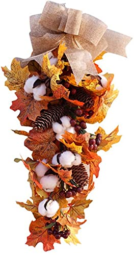 ZJDM Artificial Fall Wreath,Front Door Wreath, Christmas Wreath with Pumpkin Maple Leaves and Red Berry Ideal for Autumn Halloween Thanksgiving Day Christmas Indoor Outdoor Decor