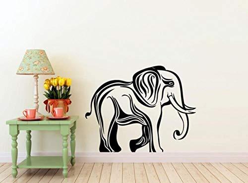 Muursticker 57 x 80 cm Jungle dieren olifant wandlamp zwart kan beweegt PVC decoratie modern waterdicht zelfklevend creatieve kunst DIY