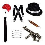 Robelli Gangster Fancy Kleid Set-Trilby Hut, Krawatte, Hosenträger, Zigarre, Schnurrbart & Nelke