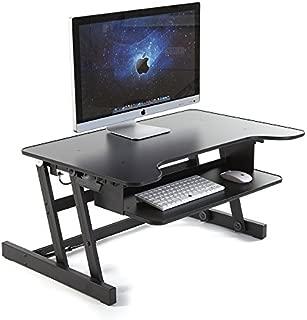 スタンディングデスク 高さが上下簡単に調節できる机 作業効率UP&腰痛解消! ブラック