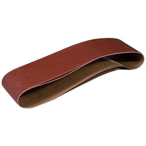 POWERTEC 110203 correias de lixamento de 15 x 121 cm | Correia de lixamento de óxido de alumínio de 240 grãos | Lixadeira premium para lixadeira portátil de cinto – Pacote com 3