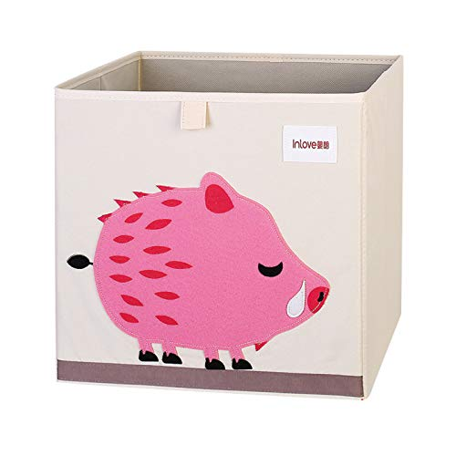 Onavy Kids Toy Chest - Cartoon Animal Print Storage Trunk for Boys and Girls,SOOTOP Children's Bedroom Storage Box, Practical Toy Box with Handle,33cm X 33cm X 38cm (Wild Boar)