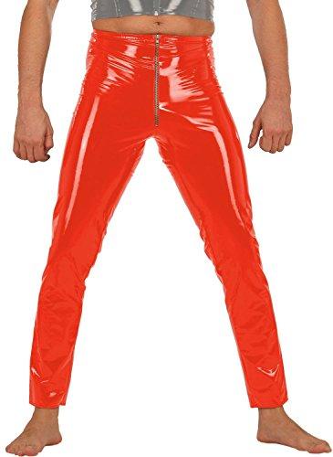 Ledapol - Herren Gay Lack Hose mit Gummizug und Zip rot - Gr. XL