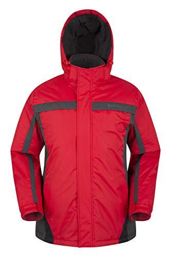 Mountain Warehouse Dusk Skijacke für Herren - Wasserbeständige Snowboardjacke, Fleecefutter, Schneerock, Kapuze und Bündchen zum Verstellen - Ideale Winterjacke Rot Large