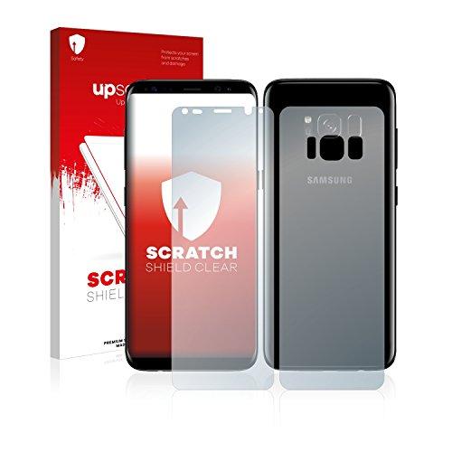 upscreen Schutzfolie kompatibel mit Samsung Galaxy S8 Plus (Vorder + Rückseite) – Kristallklar, Kratzschutz, Anti-Fingerprint