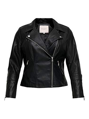 ONLY Carmakoma NOS Damen CAREMMY Faux Leather Biker NOOS Jacke, Schwarz (Black Black), (Herstellergröße: 44)