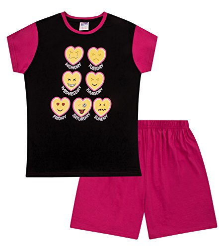 Schlafanzug für Teenager-Mädchen, kurz, Emoji-Stil, 11 bis 16 Jahre, Schwarz Gr. 15- 16 Jahre, rose