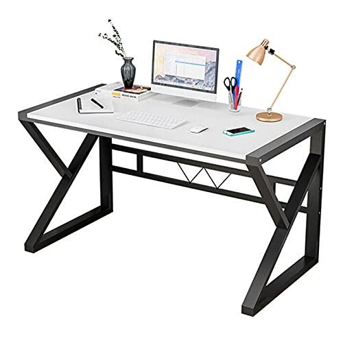 HBCELY Escritorio de computadora Mesa de Escritura de Estudio Blanca con Marco de Acero Negro Estación de Trabajo portátil para PC Escritorio para Juegos para la Oficina en casa 47,2 Pulgadas