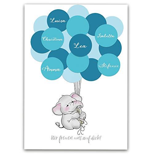 Baby-Party Gästebuch in Rosa oder Blau, Baby-Shower Geschenk für Junge in blau von Homery,...