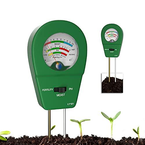 Comprobador de suelo, 2021, 3 en 1, medidor de humedad del suelo, medidor de pH y fertilidad del suelo, se utiliza para detectar la humedad del suelo y el valor de pH, práctico set de cuidado