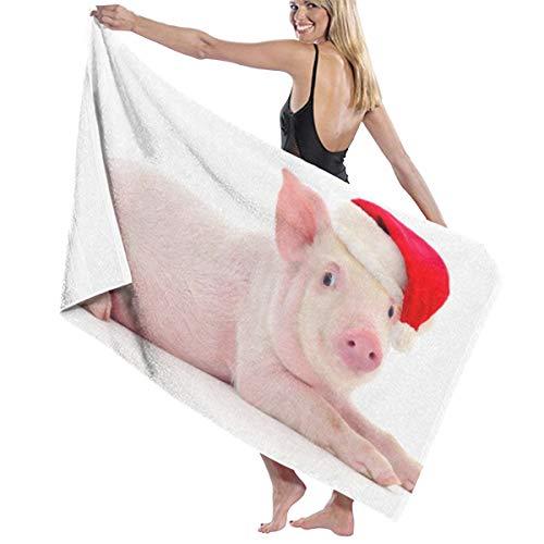 tuyi Pig In A Red Sombrero de Santa Claus Microfibra Toalla de Playa de Secado rápido Súper Absorbente Toallas Grandes y Finas Manta para Piscina Baño de natación Mujeres Hombres Adultos 31.5'x 51'
