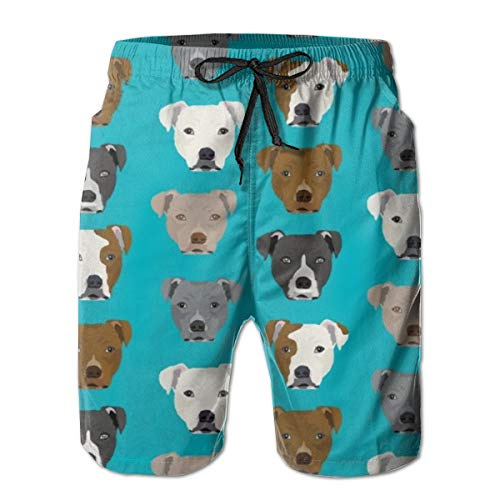 WU4FAAR Herren Strand-Shorts, Happy St. Patrick's Day Badehose, schnelltrocknend Gr. XL, Pitbull Muster