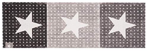 Küchenläufer Küchenteppich Küchen Matten Flur Läufer Teppich Deko waschbar robust modern Größe 140x45 cm 12 verschiedene Motive-Design und Farben (Star Boulevard - Schwarz)