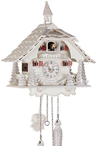 Eble, 23096, orologio a cucù, in vero legno, alimentato a batterie, movimento al quarzo, suona il richiamo del cuculo, a forma di casa della Foresta Nera, 35 cm