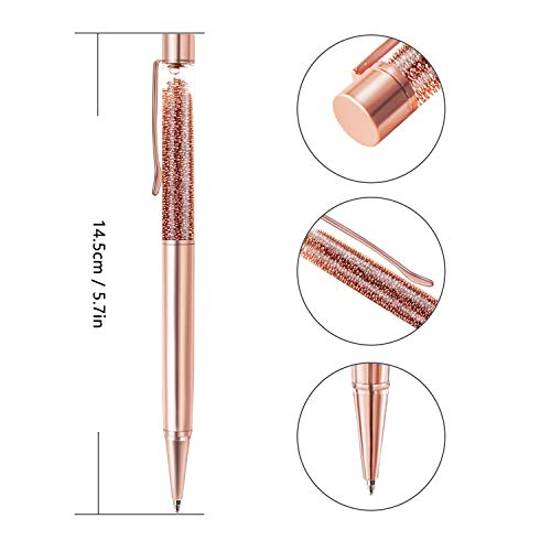 ZZTX 3 Pcs Rose Gold Ballpoint Pens Metal Pen Bling Rose Gold Dynamic Liquid Caviar Pen With Refills Black Ink Office Supplies Gift Pens For Christmas Wedding Birthday Photo #2