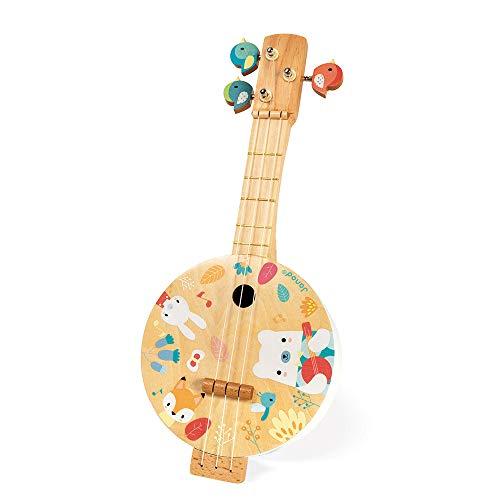 Janod - Banjo de Madera Pura - Impreso con ilustraciones - Clavijas de afinación en forma de pajaros - Juguete de imitación - 3 cuerdas de repuesto - Banjo para niños de 3 a 8 años, J05160