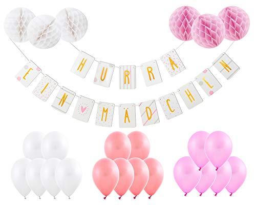 Friendly Fox Babyparty Deko Mädchen - Willkommen Baby Deko für Baby Shower Mädchen- Hurra EIN Mädchen- Girlande, Luftballons, Honeycomb Decorations (rosa)