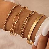 Branets Lot de 4 bracelets punk à en couches chaînes bracelet avec doré chaîne de main pour femmes et filles