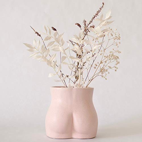 Body Vase Female Form, Butt Vase Bottom Body Shaped Sculpture, Ceramic Flower Vases for Modern Boho Home Decor, Indoor Planter Plant Pot, Feminist Decors Cute Chic Small Accent Pieces
