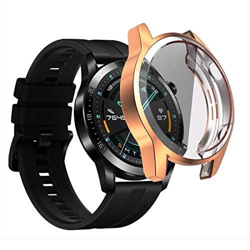 WSGGFA Funda de reloj para Huawei Watch GT 2 de 46 mm, funda de silicona suave de TPU para reloj de pulsera GT2 de 42 mm y TXTB1 (color: dorado, tamaño: 46 mm)