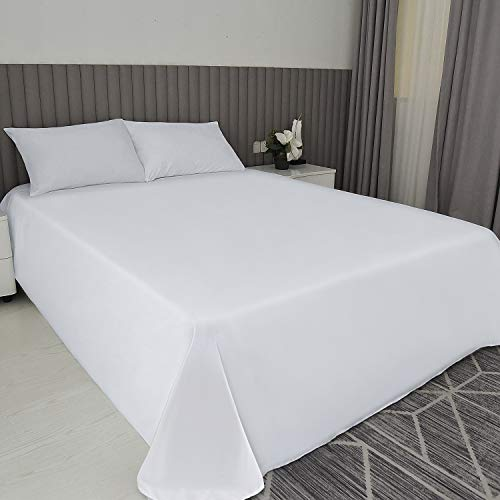 COK King Size Solid White Top Flat Sheet only, Ultra Soft Polyester Microfiber Bed Sheet - 1 Pack (White, King)