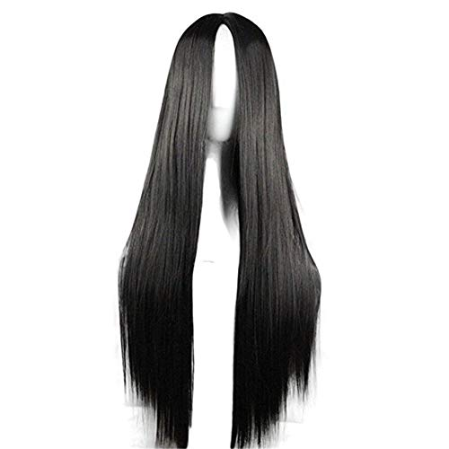 """29.5"""" Womens Long Straight Synthetic Black Wig Anime Cosplay Halloween Costume Party Wig"""