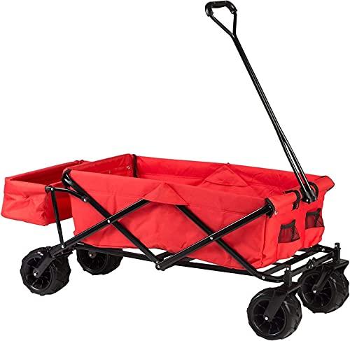 TEPET Carro Plegable, Carro con Plataforma Plegable, Carro de Arrastre con Estuche de Transporte y Cubierta, práctico Carro para Picnic/Exterior