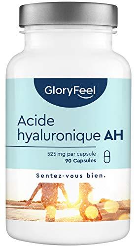 Acide Hyaluronique Capsules - 525mg Dosage Éléve - 90 Capsules Végétaliennes (3 Mois) - 500-700 kDa Agit en Profondeur - Testé en Laboratoire et sans Additifs - Complément alimentaire de GloryFeel