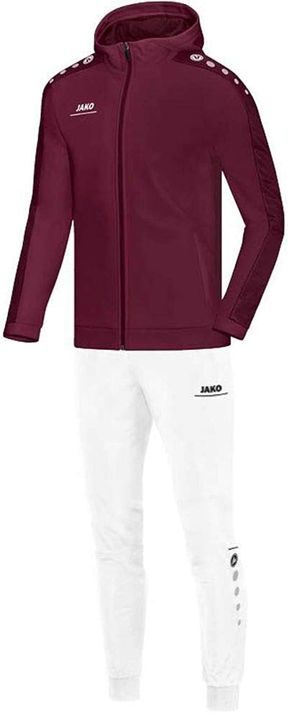 JAKO Fuball Trainingsanzug Polyester Striker mit Kapuze Herren Jacke Hose dunkelrot