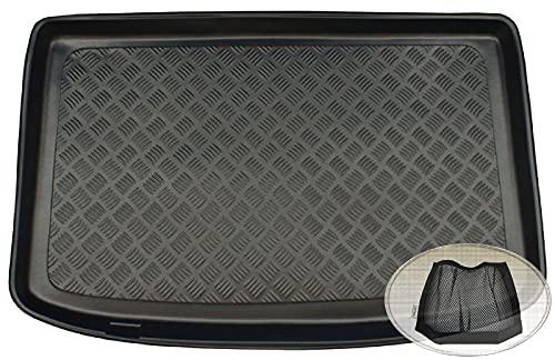 ZentimeX Z3337097 Geriffelte Kofferraumwanne fahrzeugspezifisch + Klett-Organizer (Laderaumwanne, Kofferraummatte)
