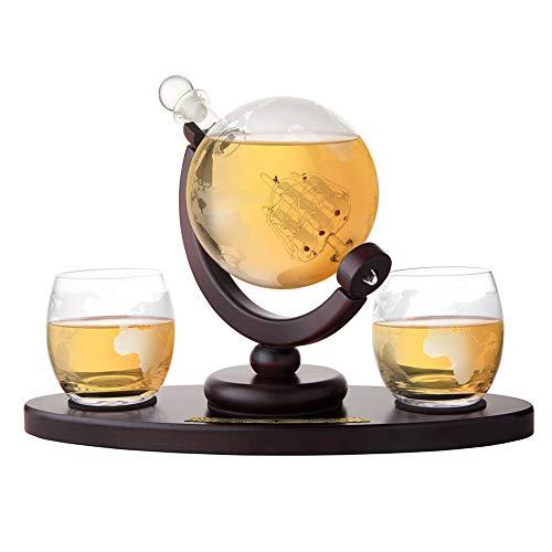AMAVEL Set Whisky Caraffa Mappamondo + 2 Bicchieri Incisione Cartina Geografica, Vassoio in Legno, Decanter a Chiusura Ermetica, Accessori Degustazione