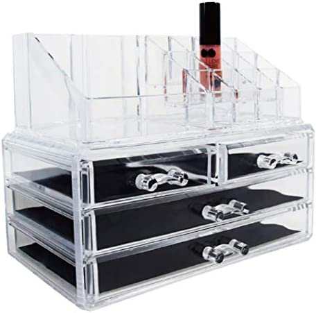 Ikee Design Jewelry Makeup Cosmetic Storage Organizer Two Pieces Set Makeup Organizer Cosmetics, Jewelry, Hair Accessories, Bathroom Counter or Dresser, Clear Design for Easy Visibility