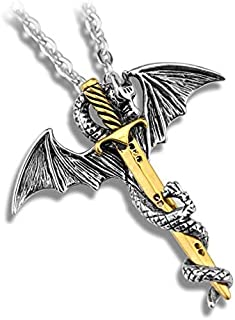 Fashion Rock Style Dragon Golden Sword Pendant Necklace for Men