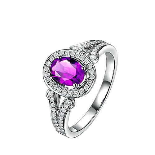 Bishilin Alianza de Boda S925 Plata de Ley para Mujeres Ajuste Cómodo Anillos de Amistad Púrpura Oval Cristal Piedra del Zodíaco Anillo de Compromiso de Boda con Bolsa de Joyeríaplata Talla: 25