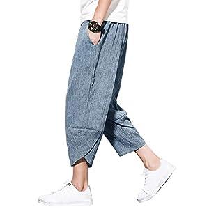 サルエルパンツ メンズ ズボン メンズ ワイドパンツ 七分丈 ハーフパンツ ボトムス 涼しい リネンパンツ 袴パンツ ゆったり 大きいサイズ 麻 パンツ カジュアル 夏 春 青 3XL