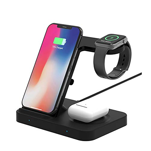 GYAM 3 in 1 Qi 15W Fast Wireless Charger for iPhone 12 11 XS XR 8 X 3 in 1 Wireless Charging Station for Apple Watch SE 6 Airpods Pro
