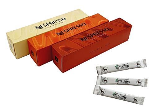 Nespresso Vertuo Barista Creations Vanilla Custard Pie, Caramel Cookie, Hazelino Muffin, 30 Kapseln & ALTI LIVING Zuckersticks