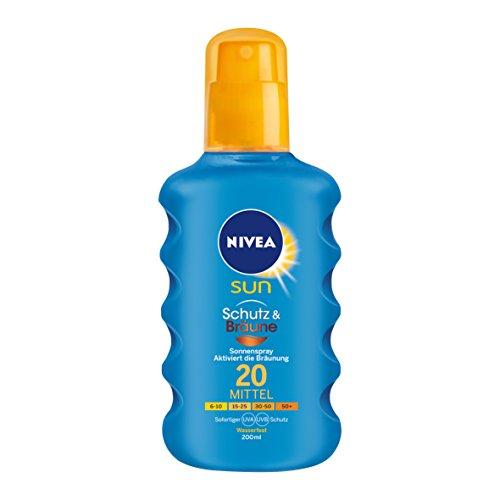 NIVEA SUN Sonnenspray mit Bräunungs-Aktivierung, Lichtschutzfaktor 20, 200 ml Sprühflasche, Schutz & Bräune