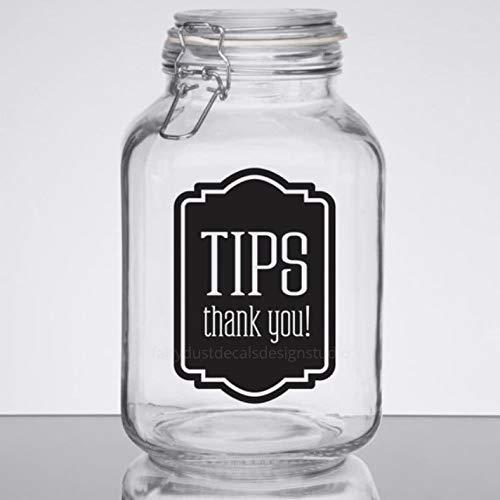 Tip Jar Decal tip Money Canister Label Waitress Gift Bartender Hair Stylist tip jar Vinyl Decal Tips Decal Wedding bar tip jar Decal