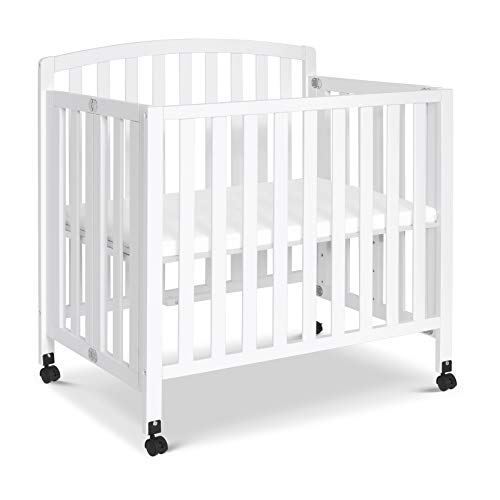 DaVinci Dylan Folding Portable 3-in-1 Mini Crib and Twin Bed in White, Greenguard Gold Certified