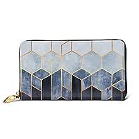 財布 長財布 青い六角形 本革 小銭入れ ラウンドファスナー 大容量 軽量 レディース メンズ 財布