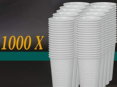 Trinkbecher 0.2l weiss 100St - 1000St Becher Einwegbecher Einweg Plastikbecher , Wunsch:1000 Stück