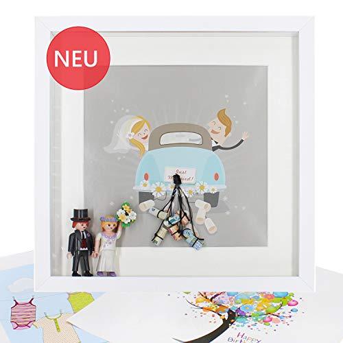 CasaBena 3D Bilderrahmen zum Befüllen 30x30cm Weiß - Geldgeschenk zur Hochzeit inkl. 3 hochwertiger Drucke - Passepartout - Glasscheibe - Bonus Download (30 x 30 cm)