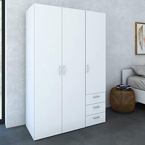 Dmora Armadio Guardaroba Ante battenti e Tre cassetti, Colore Bianco, cm 115 x 49 x h175